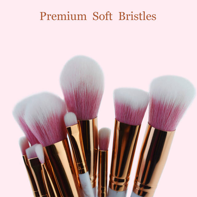 3e30f2d98ed3 US $8.93 25% OFF CHILEELOVE 10 Pcs Rose Gold Marble Stripe Pro Beauty Tool  Makeup Brushes Kits Blush Bulk Powder Eye Shadow Highlight Brush-in Eye ...