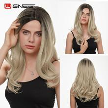 Wignee Long Wavy Hair Synthetic Wig For Women High Density Middle Part Ombre Brown/Blonde/Pink/Purple/Grey Natural Soft Hair Wig long middle part wavy colormix synthetic wig