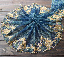 JaneYU Dark Blue Print, Gold Embroidery, Lace Accessories, Skirt, Scarf, Clothing, Garment Accessories Fabric [available with 10 11] skirt bezko psu 3001 dark blue