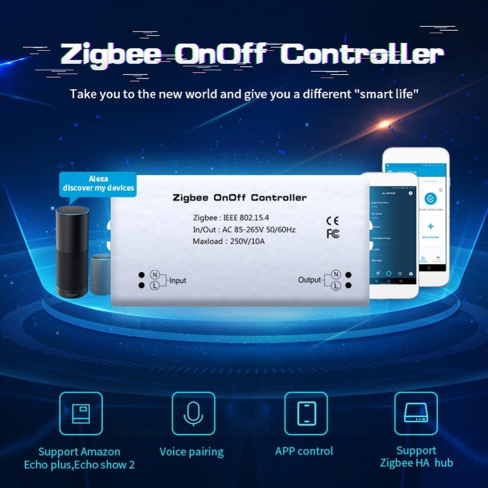 Casa inteligente zigbee controlador de ligar/desligar interruptor inteligente app controle remoto alexa módulo de controle de voz casa inteligente