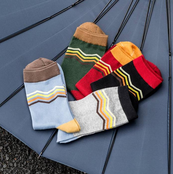 Mens socks British Style Stripe Splice Gradient Color brand elite Breathable long cotton socks for Happy men wholesale socks