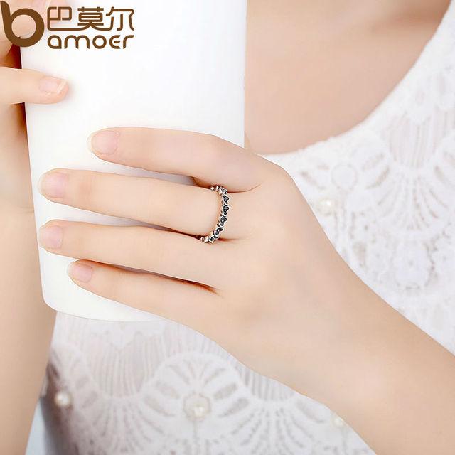 Sterling Silver Floral Elegance Stackable Ring
