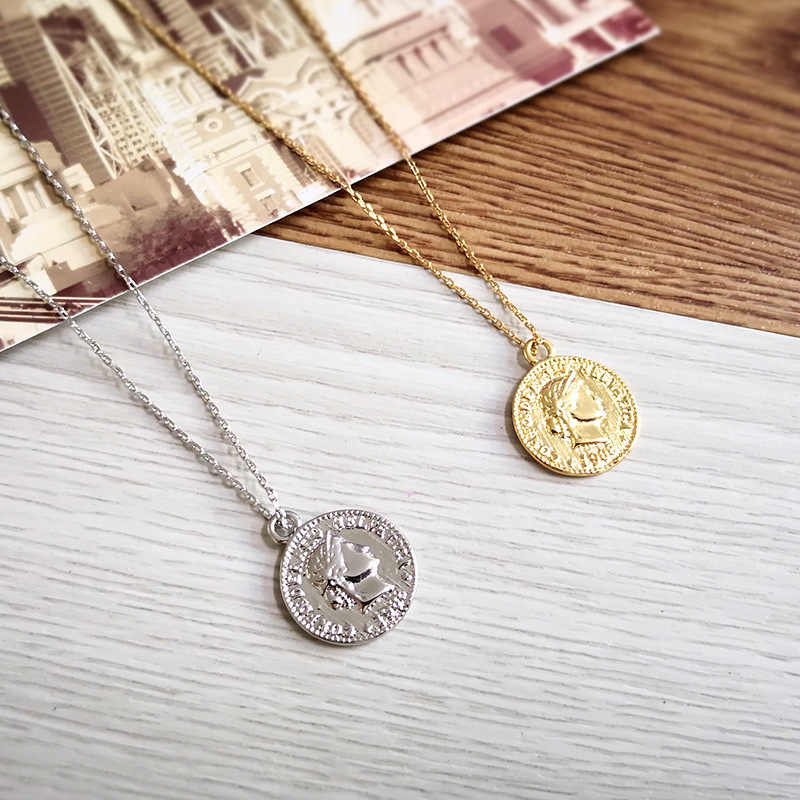 2018 Simple Vintage Carved Coin Necklace For Women Fashion Gold/Silver Color Figur Medallion Pendant Long Necklaces Boho Jewelry