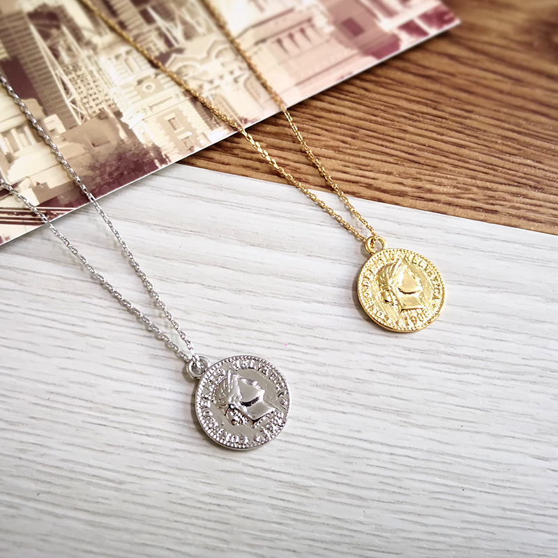 2018 Simple Vintage Carved Coin Necklace For Women Fashion Gold Silver Color Figur Medallion Pendant Long Necklaces Boho Jewelry(China)