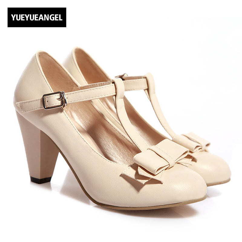 2018 Womens Kitten High Heels Shoes T Strap Vintage Pumps Mary Janes Plus Size Bowknot Footwear White Dress Shoes синтезатор korg volca bass