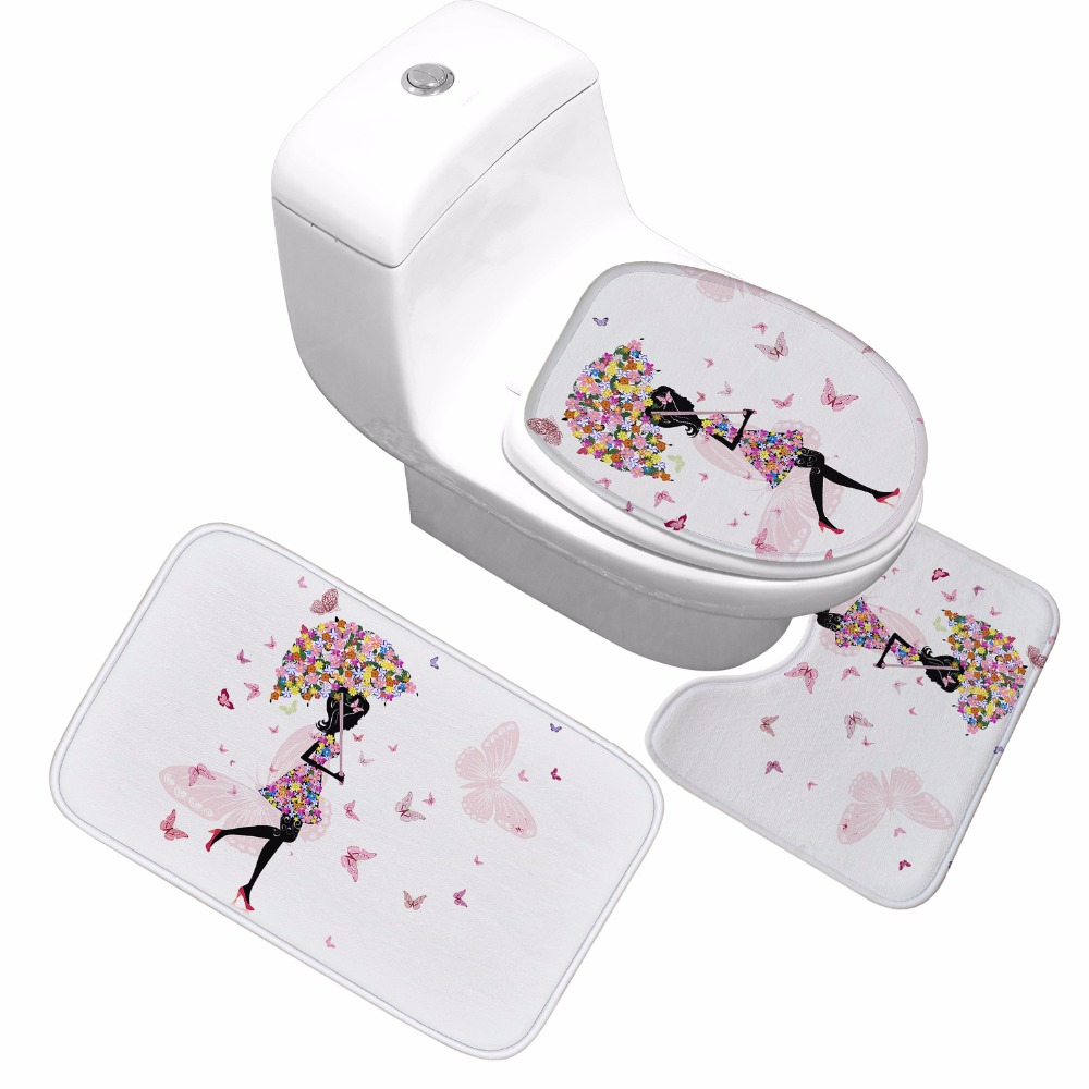 Image 3 - CAMMITEVER Home Decor Bathroom Rugs Colorful Butterfly Girl 3D Print Non slip Washroom Carpet WC Toilet Soft Mat 3 PCS-in Rug from Home & Garden