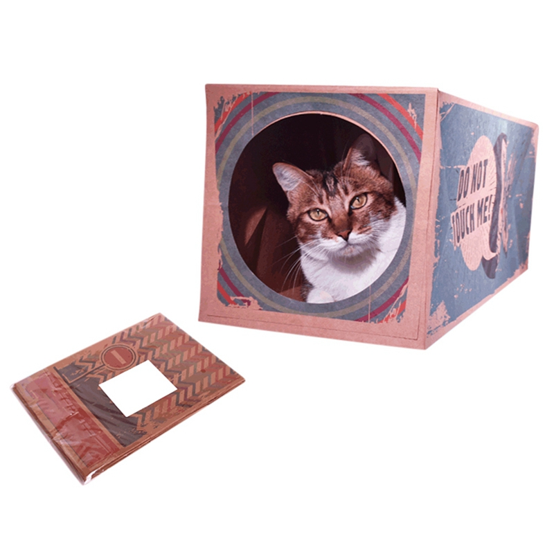 Foldable Cats Tunnel Toys Suede Kitten Pet Supplies Funny Cat Tunnel Paper Frame image