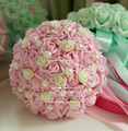 2017 Cheap Wedding Bouquet Bridal Bridesmaid light Green/Pink Colorful Artificial Flower Rose Bride Bouquets buque de noiva