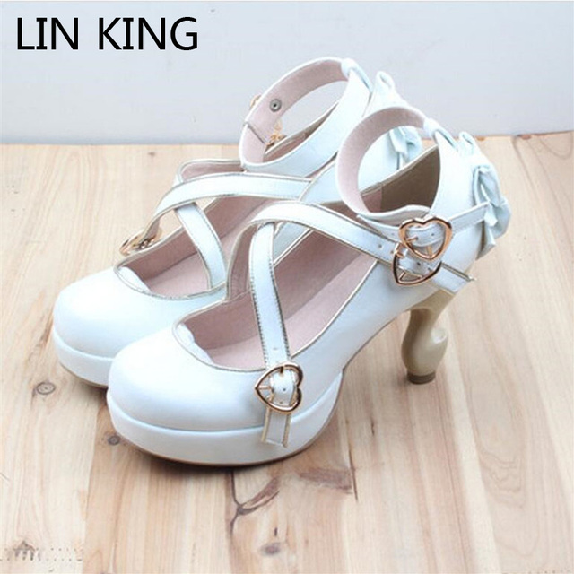 LIN REY Marca Extraña Talones Zapatos Lolita Cosplay Bowtie Vendaje Hebilla de Correas de Las Bombas de Tacón Alto Plataforma Sexy Zapatos De Dama