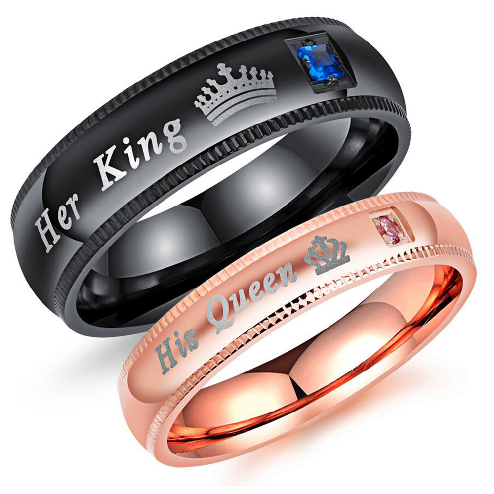 Engagement Promise Ring Bands Her King And His Queen Stainless Steel Wedding Rings For Women Men Anel Masculino ...