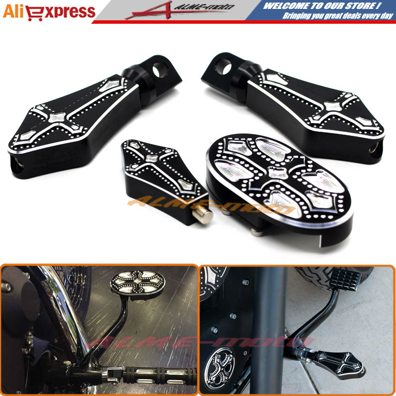 Motorcycle CNC Billet Aluminum Brake Pedal Pad Cover Footrests Foot pegs Shifter Peg For Harley Sportster