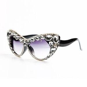 Image 3 - 2018 boy kedi göz güneş kadınlar marka tasarımcısı lüks kristal seksi güneş gözlüğü bayanlar Oculos De Sol Feminino
