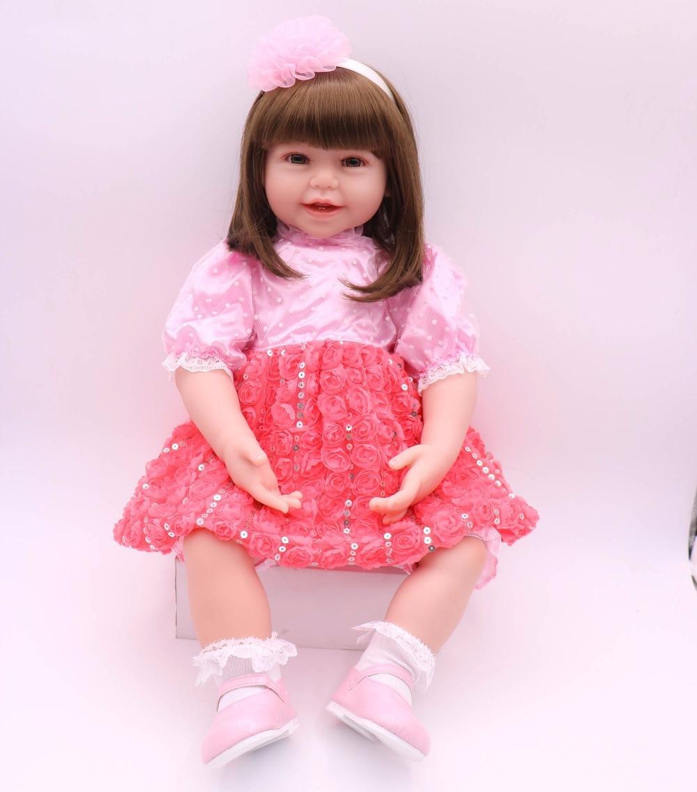 Hiqh quality 60cm bebe-reborn menina de Silicone toddler boneca silicone Reborn girl Alive Doll for Girls Gift Brinquedo gift