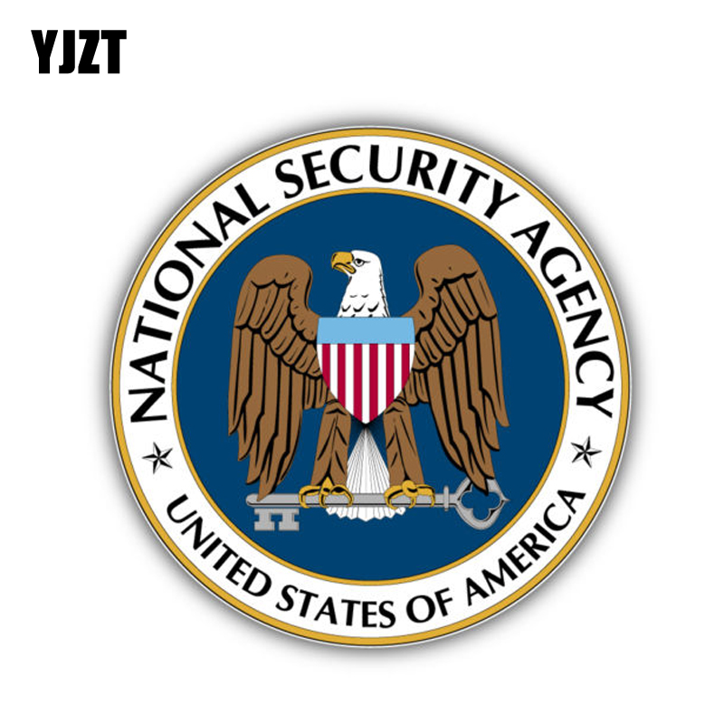 YJZT 12CM*12CM National Security Agency America Flag Car Sticker Decal Accessories 6-1304