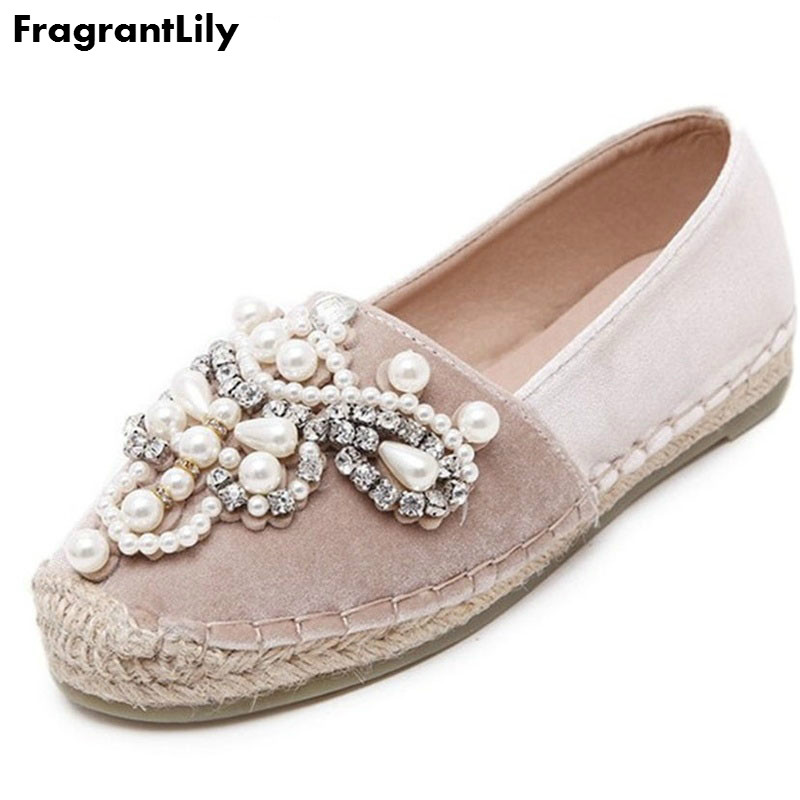 FragrantLily Autumn Women loafer Round Toe espadrilles Pearl Comfortable Hemp Bottom Frisherman Shoes Slip On Zapato Mujer PINK