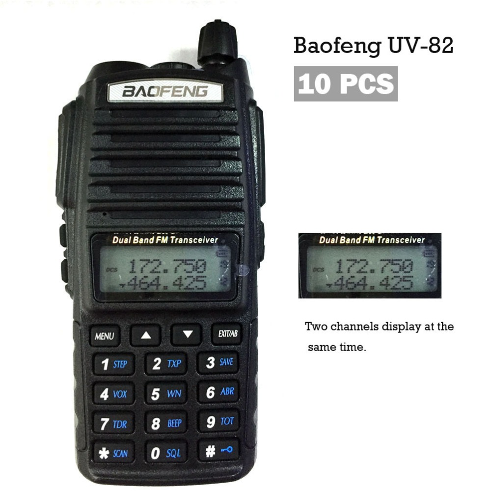 10PCS  Baofeng Dual Band 137-174//400-520MHz Two-Way Radios Walkie Talkie UV-82