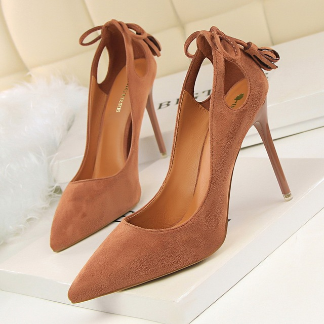 BIGTREE  Women Pumps  Cut-Outs Bowtie Tassel  Fashion Solid Suede Pointed Toe Shallow High Heels Shoes