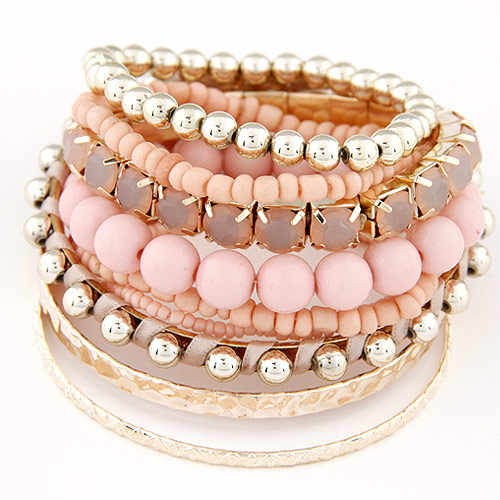 LEMOER Designer Bohemian Candy Color Multilayer Beads Bracelet Bangles jewelry for women 2019 gift pulseras mujer wrist band