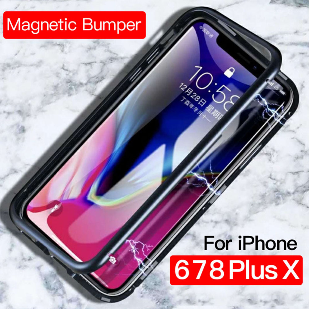 2018 Magnetic Flip Phone Case for IPhone X 8 PLUS 7 Plus Clear Tempered Glass + Built-in Magnet Case for IPhone 7 8 Metal Cover