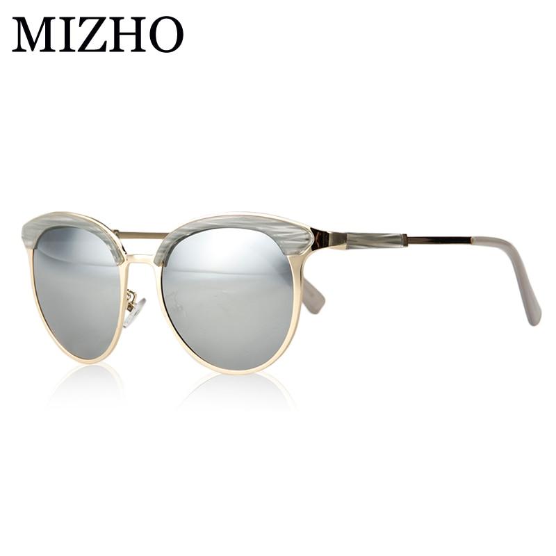 MIZHO Vidrio Metal Star Поляризовані сонцезахисні окуляри Жіночі котячі очі Vintage UVA Polaroid Протектор сонцезахисних окулярів Срібне дзеркало Оригінальна марка