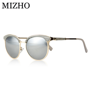 MIZHO Vidrio Metal Star Polarized Sunglasses Women Cat eye Vintage UVA Polaroid Sunglass Protector Silver Mirror Original Brand