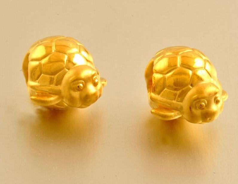 1PCS 24k Yellow Gold Pendant / 3D Cute Lucky Turtle Loose Bead Pendant / 1.28g classic new 10pcs 999 24k yellow gold pendant sandstone loose bead pendant