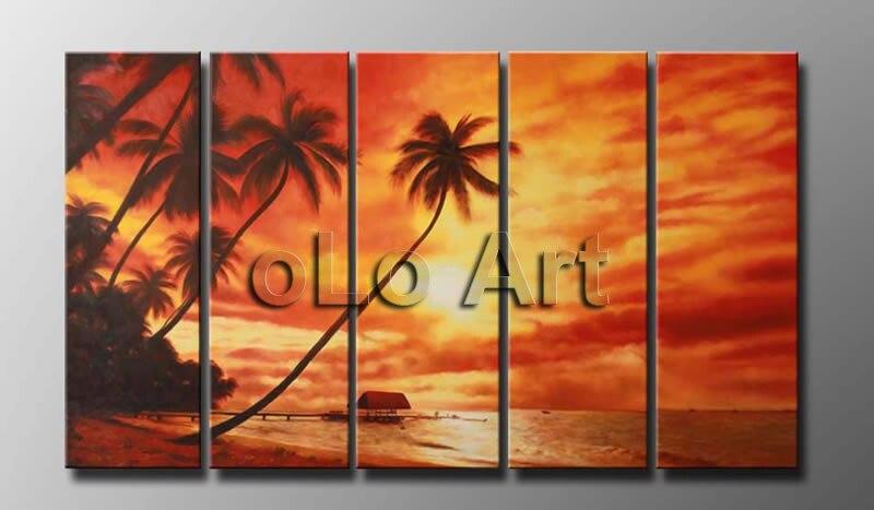 Peintures à l'huile faites à la main Art mural, coucher de soleil, plage, musée de palmier qualité paysage marin peinture à l'huile Art oLo PD0012