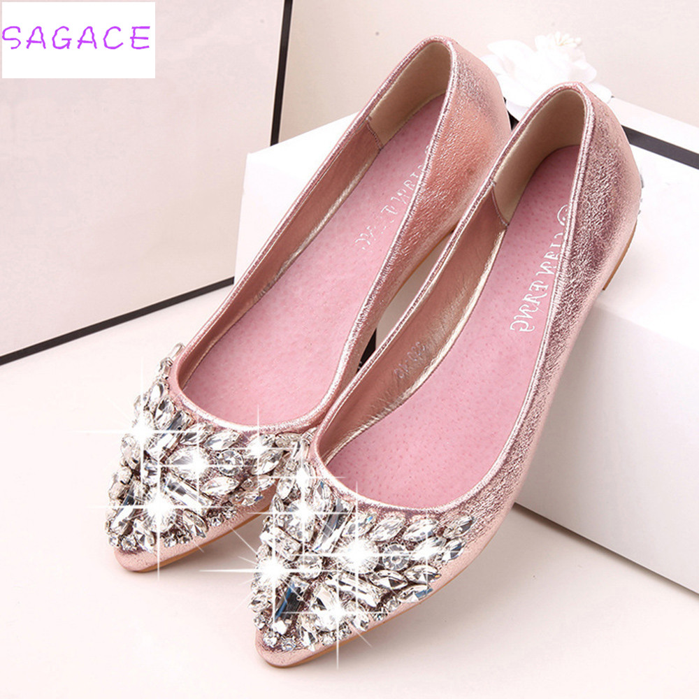 Pointed Toe Ladies Shoes Casual Rhinestone Low Heel Shoes