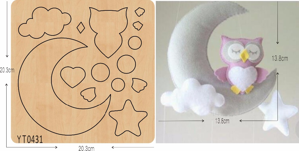 Owl and Moon Hanging DIY new wooden mould cutting dies for scrapbooking Thickness 15 8mm