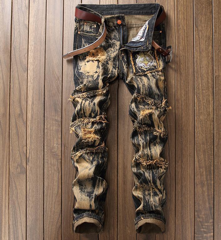 Destroy Wash Ribbed Jeans Men Tiger Embroidery Denim Jeans Punk Full Length Men Ripped Jeans Hip Hop Patchwork Urban Biker Jeans