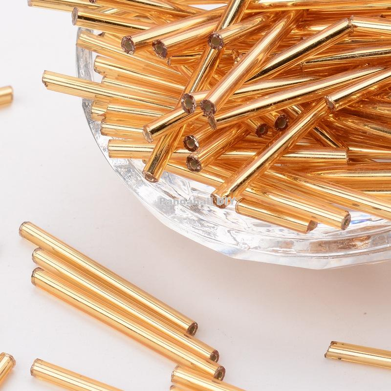 Glass Bugle Beads, Seed Beads, Golden, about 3mm wide, 31~34mm long, hole: 0.4mm; about 1400pcs/ pound golden seed