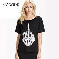 KAYWIDE New 2016 Fashion Summer Casual T Shirts Punk Style Skull Finger Printed T Shirt Women