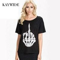 KAYWIDE New 2016 Fashion Summer Casual T Shirts Punk Style Skull Finger Printed T Shirt Women