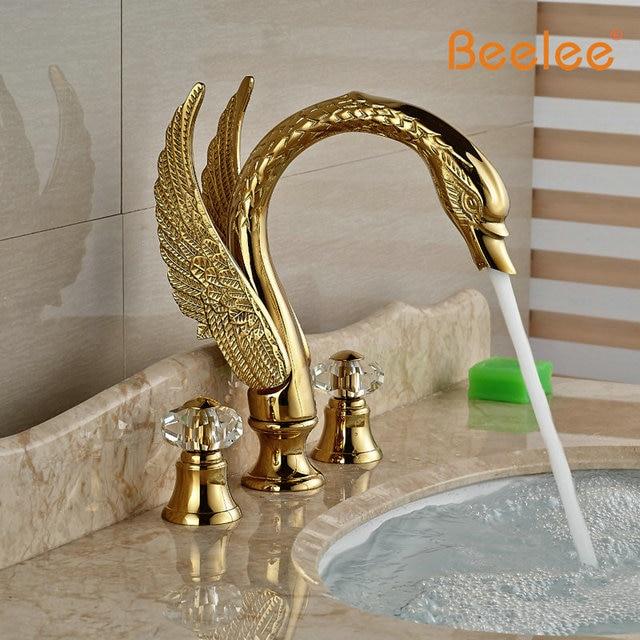 Aliexpress.com : Buy Beelee Luxury Swan Golden Basin Faucet Tap Deck ...