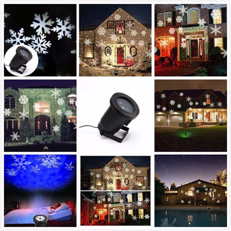 LED Snowflake Effect Lights Outdoor Christmas Light Projector Garden Outside Xmas Tree Decoration Landscape Lighting ...