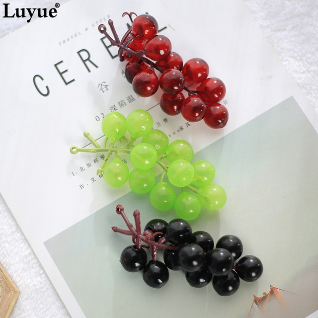 Luyue 11pcs/lots High quality PVC Artificial Grape Party Wedding Simulation Fruit Flower Head Grape Leave Decor Real Touch DIY