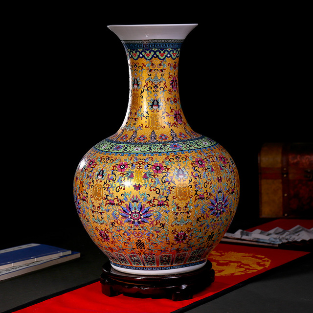 Jingdezhen Vase Floor Enamel Longevity Flower Patternceramic Antique
