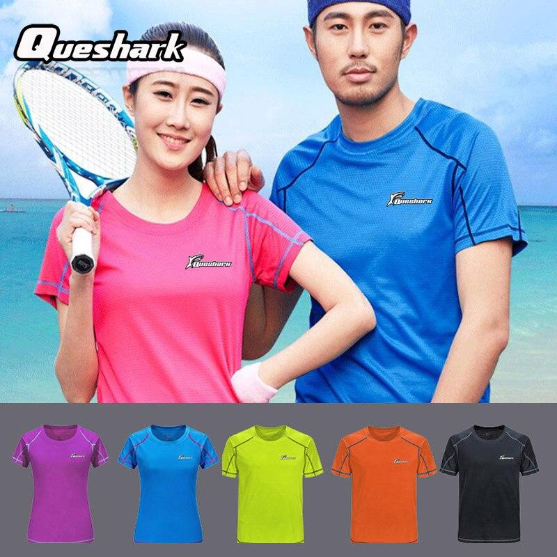 Queshark Professional Sport Quick Dry Running T Shirt Women Men Gym Training Short Sleeve Shirts Jogging
