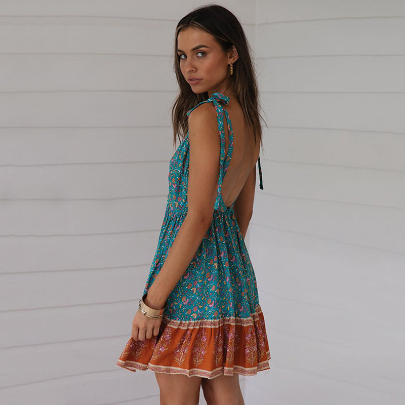 ARiby 2019 Summer New Women Dresses Dress Bohemian A Line Print Sleeveless Mini Spaghetti Strap V Neck Backless Sexy Dress in Dresses from Women 39 s Clothing