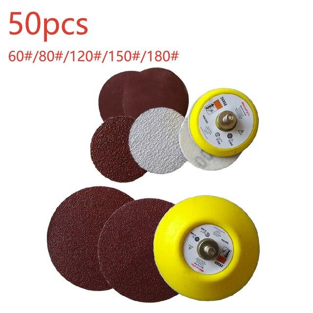 Абразивные шлифовальные насадки 50 шт., 2 Дюймовая красная круговая наждачная бумага 60/80/120/150/180 + 1 шт., пластина с липучкой, подходит для Dremel