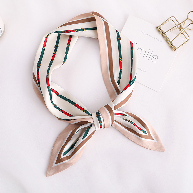New Design Skinny   Scarf   solid striped Print Women Silk   Scarf   Small Handle Bag Ribbons Female Head   Scarves     Wrap   For Lady 100*10cm
