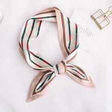 New Design Skinny Scarf solid striped Print Women Silk Scarf