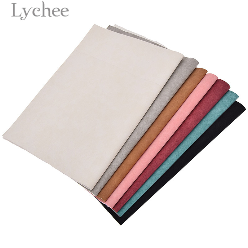 Lychee Life 21x29cm A4 Faux Suede PU Leather Fabric For Garment Waterproof Synthetic Leather Fabric DIY Sewing Material 5