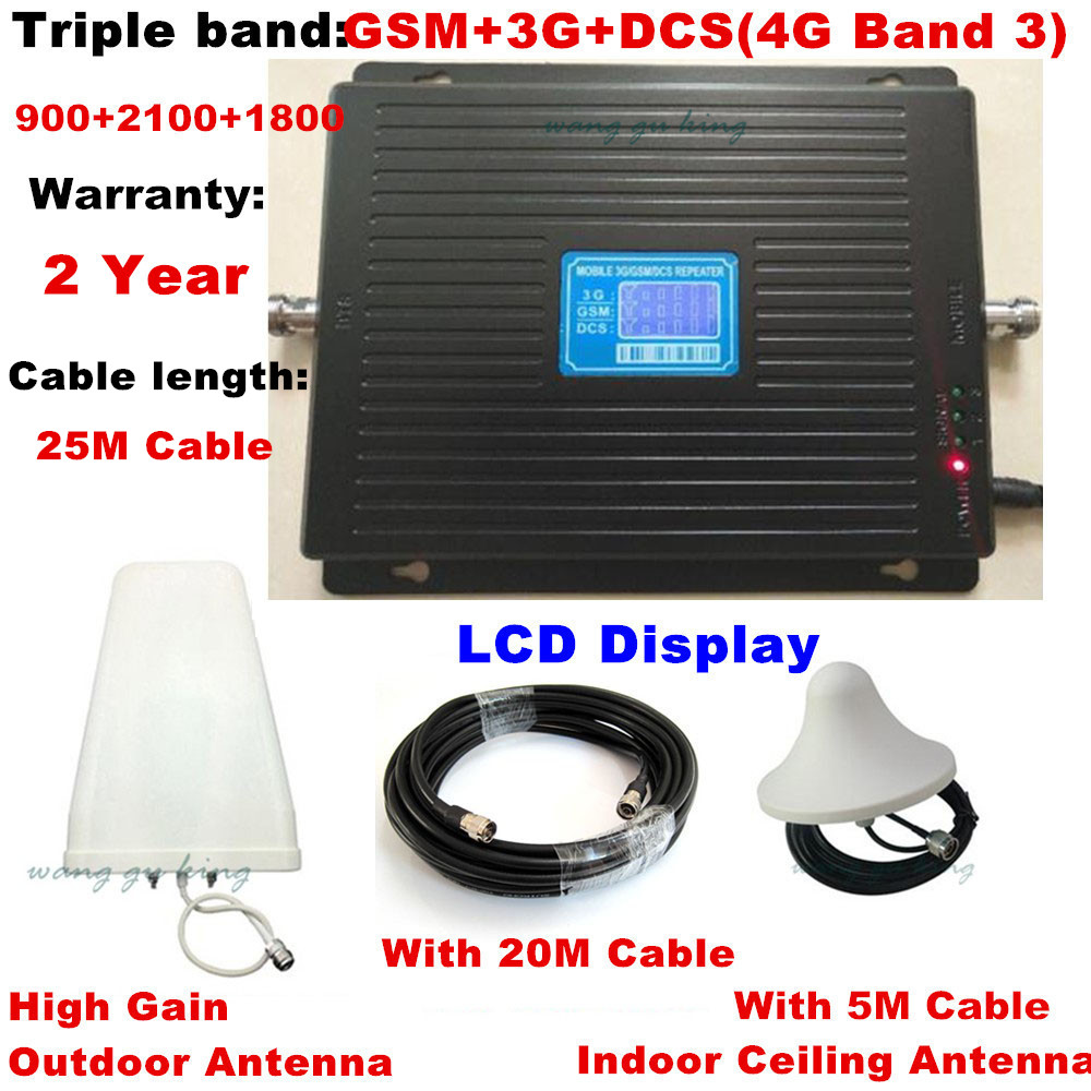 Écran LCD TriBand 2G 3G 4G GSM répéteur 900 WCDMA 2100 LTE 1800 amplificateur de Signal cellulaire 70dB Gain répéteur gsm amplificateur 3G 4G
