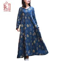 LZJN Boho Floral Print Long Dresses 2019 Women Warm Spring V Neck Long Sleeve Vintage Jumper Linen Tunic Fleece Dress