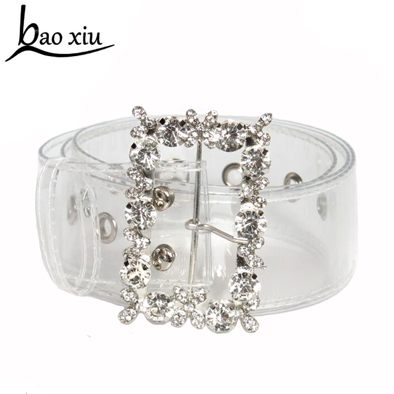 2019 new pvc Transparent   Belts   for Women metal Rhinestone crystal pin buckle solid color Summer Female accessories