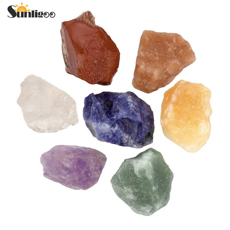 Sunligoo Neue 7 stücke Natursteine Grobe Kristalle für Taumeln Cabbing (Amethyst/Bergkristall/Sodalith/Topaz etc) 0,95
