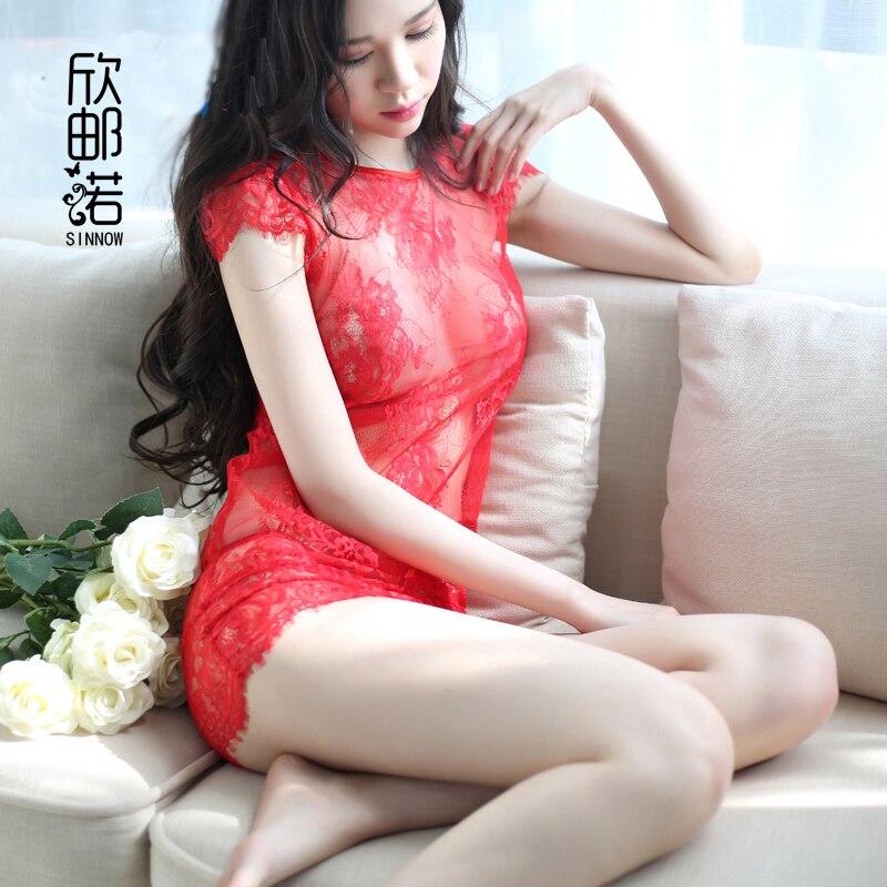 exotické oblečení dámské kostýmy Sexy průsvitné noční košile těsné uniformy na spaní krajky cheongsam děvka kostým Babydolls