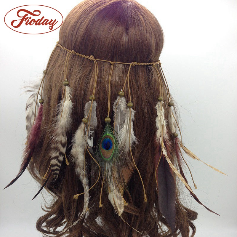 New Arrival Fashion Women Gypsy Peacock Feather Tassel Headbands Tribal Style Carnival Hippie Party Hairband Hair Accessory