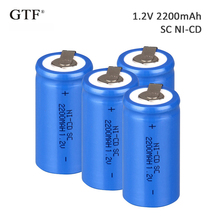 4Pcs 2200mah Sub C SC 1.2V ni-cd Rechargeable Battery Flat Top With Tabs For Shaves And Emergency Lighting Radios celular